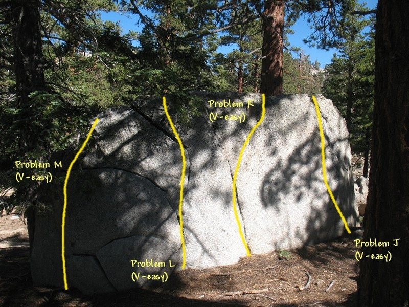 Photo/topo for the South Warm-up Boulder (E. Face), Tramway