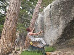 Rock Climbing Photo: James starting up Bam Bam (V1), Tramway