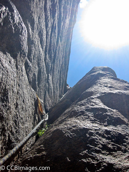 Greg Hartman leading the second pitch, this should give you some scale on how narrow the V gets.