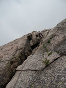 Rock Climbing Photo: 5.6 start variation of Pitch 1.  The starting move...