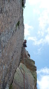 Rock Climbing Photo: Last pitch: couple of 5.7 moves in the inside corn...