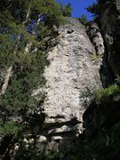 Rock Climbing Photo: In the center of this face is a light brown streak...