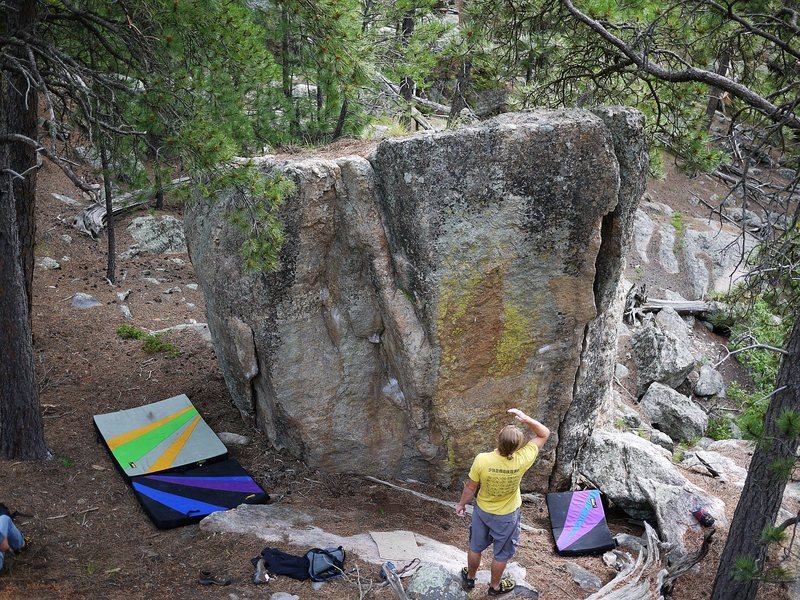 Rock Climbing Photo: Sports Action Boulder.  The left side with the fla...