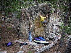 Rock Climbing Photo: Steve moving onto the gaston on this fun problem.