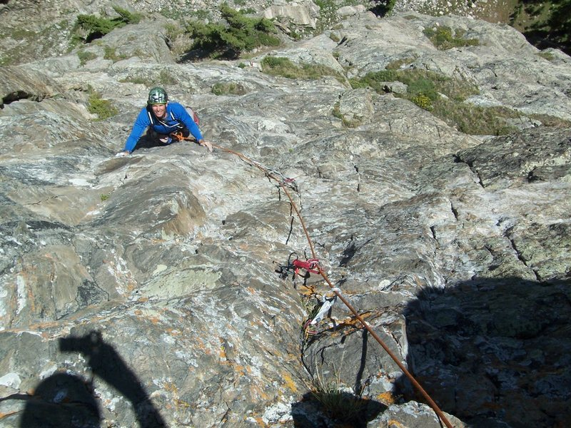 "Rock Climbing Photo: Bert is following the ""scary"" traverse p..."