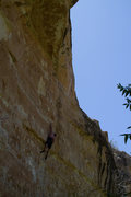 Rock Climbing Photo: Upper tough section with a long undercling reach. ...