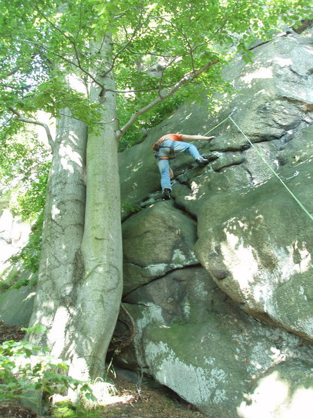 Rock Climbing Photo: Ata at the 2nd bolt