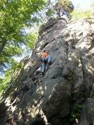 Rock Climbing Photo: Ata approaching the crux