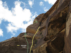 Rock Climbing Photo: green = original route yellow = variation