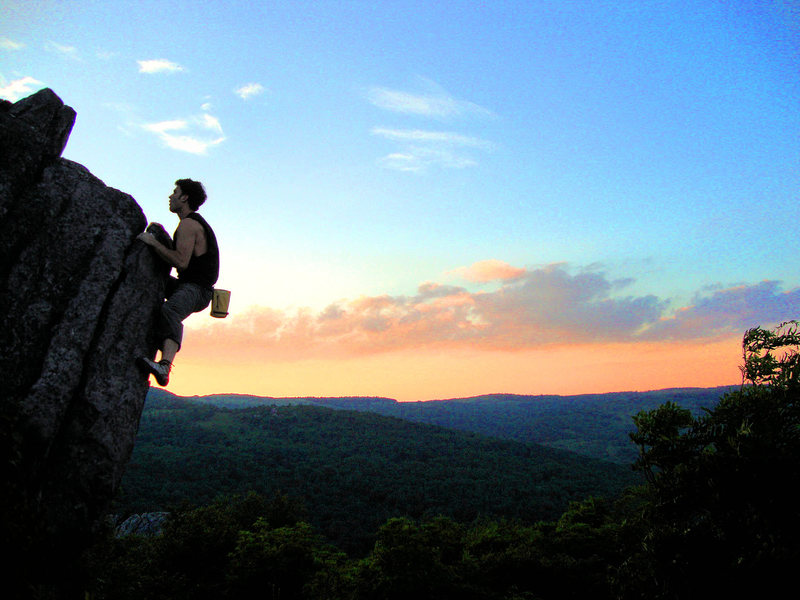 "Rock Climbing Photo: Aaron Parlier on the ""Sunset Arete"" (v1)..."