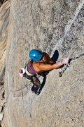 Rock Climbing Photo: Valarie Heredia leading P2. Photo: Greg Epperson