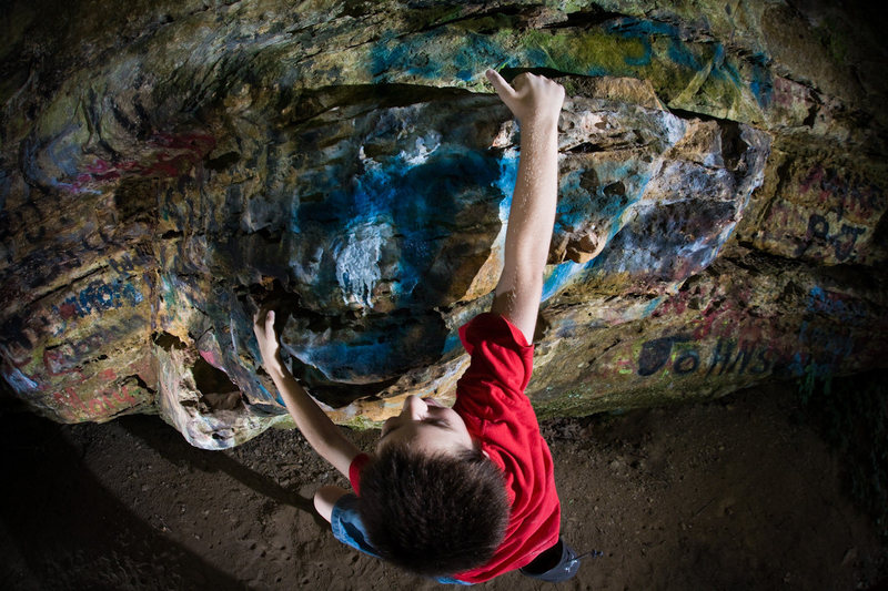 Cam pulling his first problem at the Painted Cave