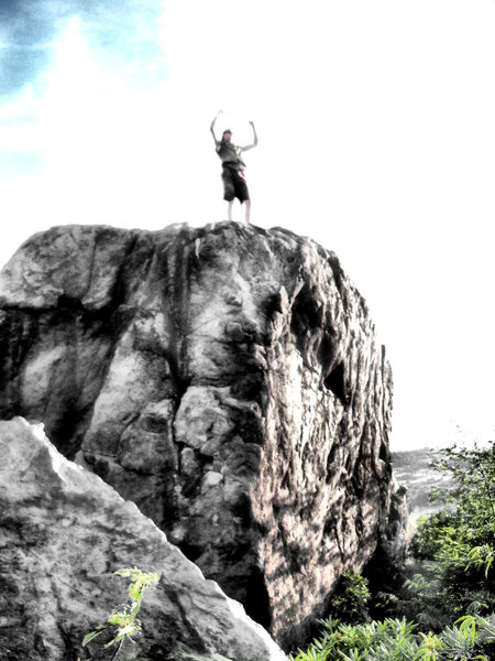 Rock Climbing Photo: A contrasted shot of a victorious Travis Melin ato...