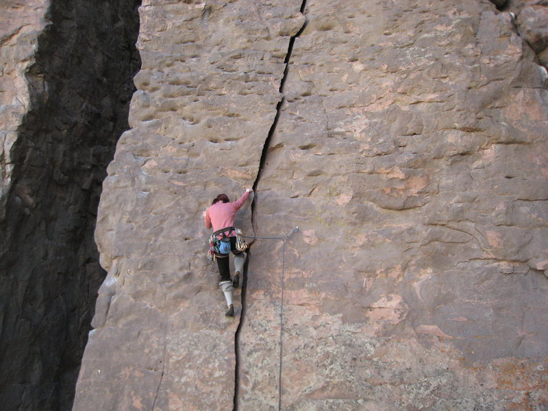 Rock Climbing Photo: Warming up on Wacked Scenario.  March 2010