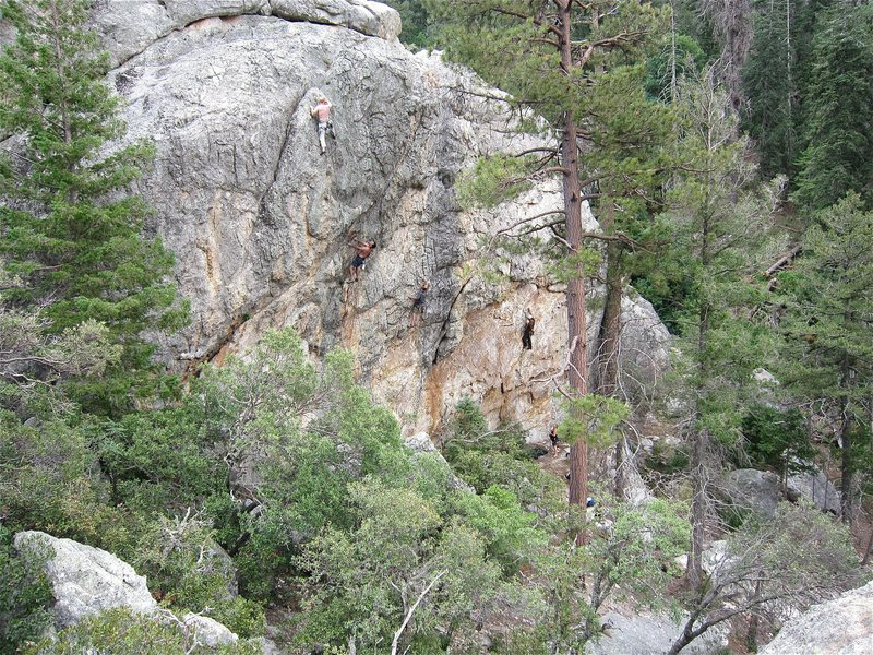Rock Climbing Photo: Climbers on 4 of the routes that exist at this tim...