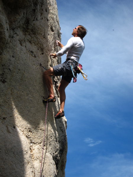 T. Chrudinsky climbs perfect pockets on the final headwall.