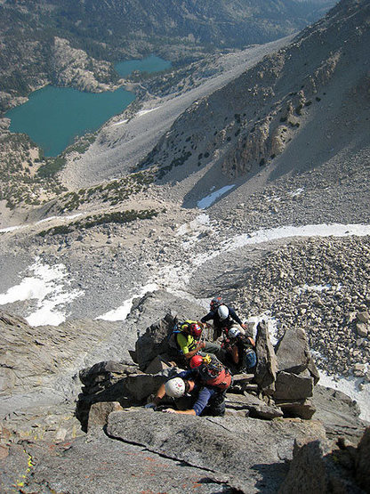 Rock Climbing Photo: Escaping the crowded 3rd belay.  Note: this was a ...