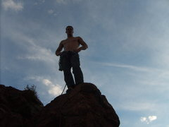 Rock Climbing Photo: Scott on top of Army Route in North Cheyenne Canyo...