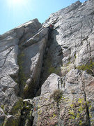 Rock Climbing Photo: The final obstacle: Contact Crack downclimb (reall...