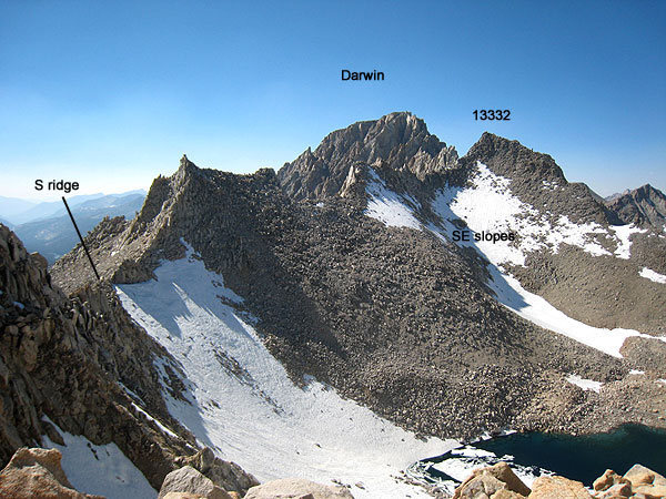 annotated photo of the traverse to 13332 and Darwin from Haeckel.  Secor-described routes noted.