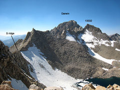 Rock Climbing Photo: annotated photo of the traverse to 13332 and Darwi...
