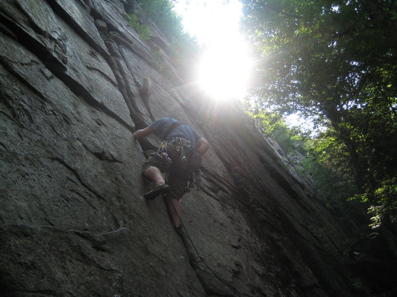 Rock Climbing Photo: Climbing through the crux.
