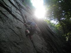 Rock Climbing Photo: Climbing through the crux.