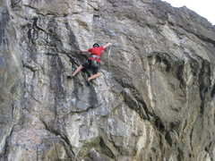 Ben working the crux sequence.