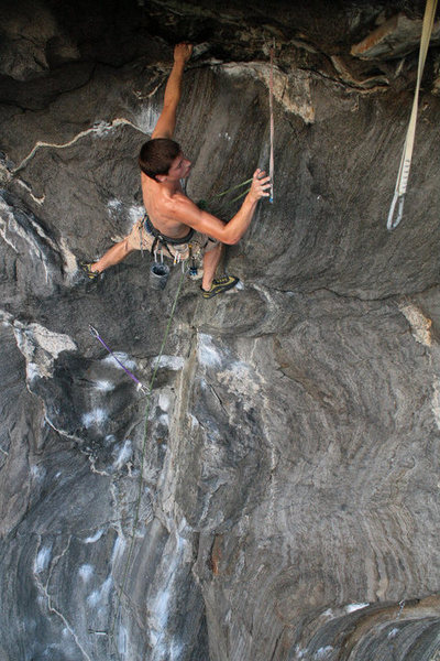 Rock Climbing Photo: clipping on the roof...