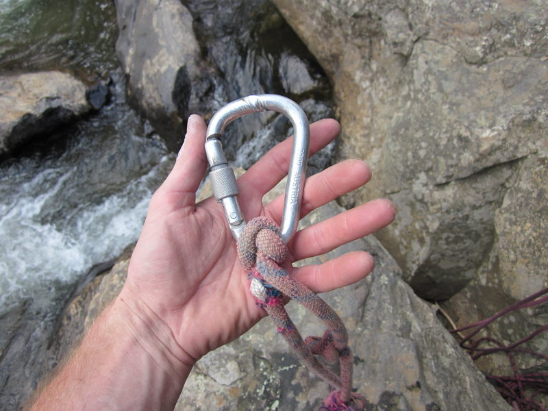 Rock Climbing Photo: Core shot rope, and very grooved biner removed fro...