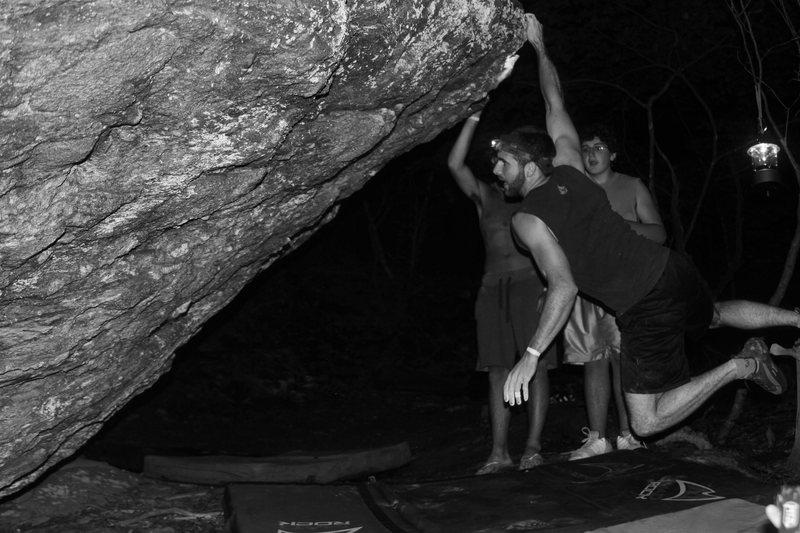 "Philip blasting through the ""Distance Dyno"" (v4+) on the AVP Boulder"