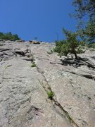 Rock Climbing Photo: I chose this for P1 up to the large block with the...