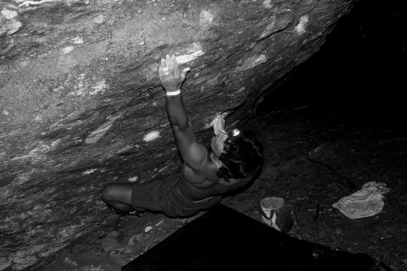 """Rock Climbing Photo: Steve pulling through moves on """"Casual-Tees&q..."""