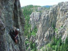 Rock Climbing Photo: Steve higher on G.O.D. second pitch.