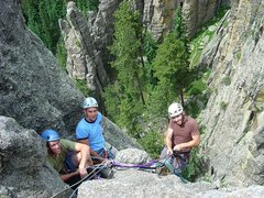 Rock Climbing Photo: Looking down at the 2nd pitch belay from the top.