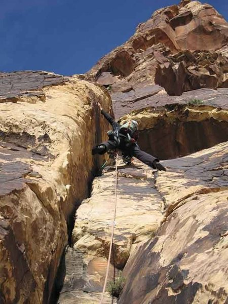 A [big] buttshot ; /<br>  of me on lead on Jubilant Song; one of my favorite climbs in Red Rock.