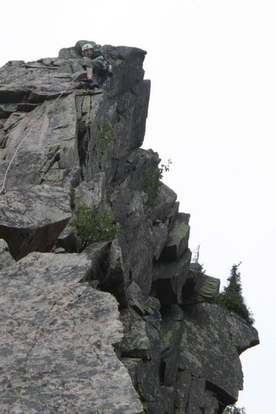 finishing up the 5.9 variation finish... more solid rock and more exposed climbing...