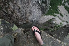 Rock Climbing Photo: me and jakob peering over the drop in to the black...