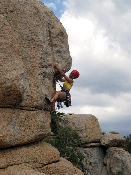 Rock Climbing Photo: Joan Bertini leading Armed and Ready
