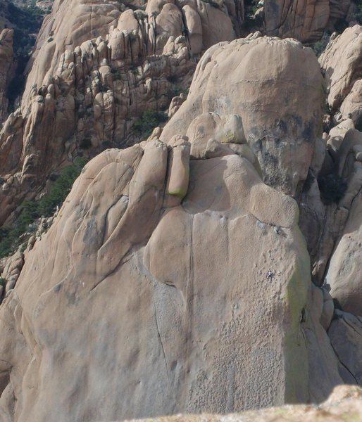 Rock Climbing Photo: Two climbers on What's My Line viewed from the Roc...