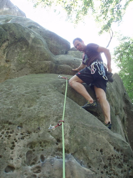 After the crux, but lots of interesting moves to go...