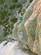 Rock Climbing Photo: Megan following the 4th pitch of Golden Pillar