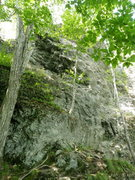 Rock Climbing Photo: rainbow starts to the right of the small birch.  T...