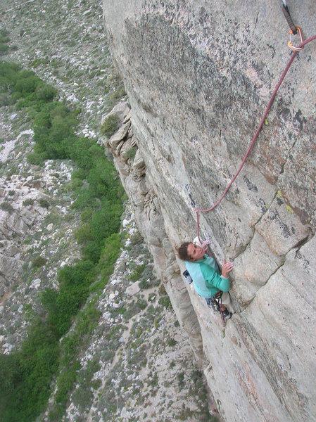 Rock Climbing Photo: The best climb on Moustache Wall? Probably.  Megan...