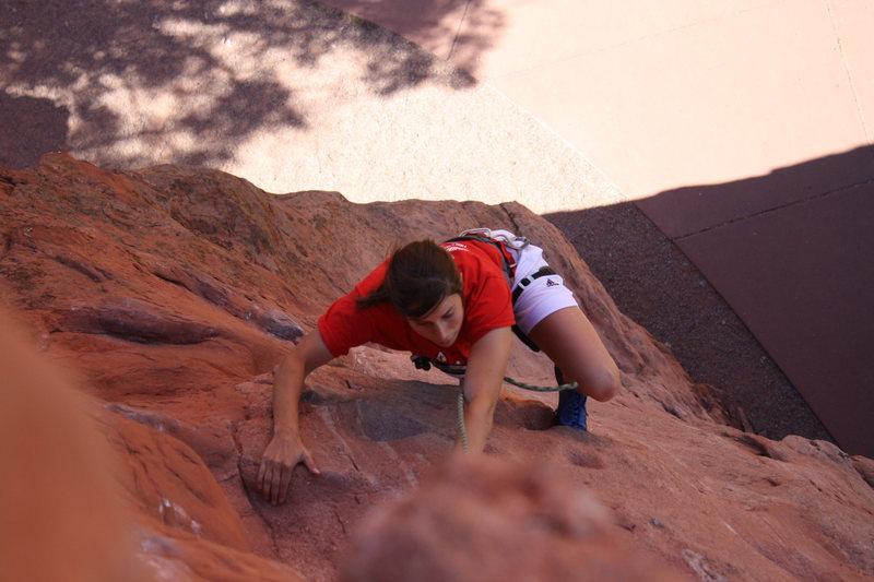 Rock Climbing Photo: Meg approaching the top of Pot Holes.
