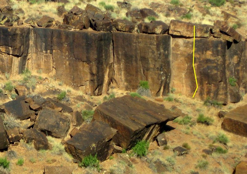 Rock Climbing Photo: Yellow line indicates Professor Nutbutter's House ...