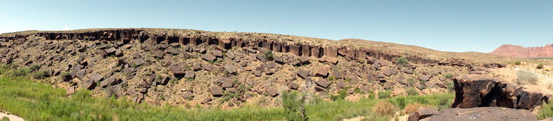Rock Climbing Photo: A panoramic shot of the cliff band across the rive...