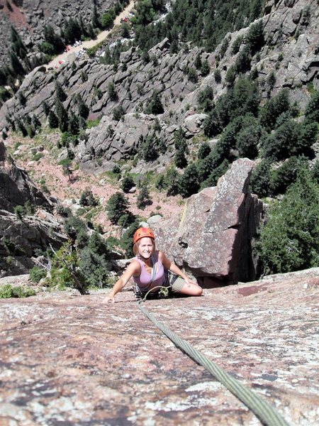 Rock Climbing Photo: Brenda on the last pitch with the arete point in t...