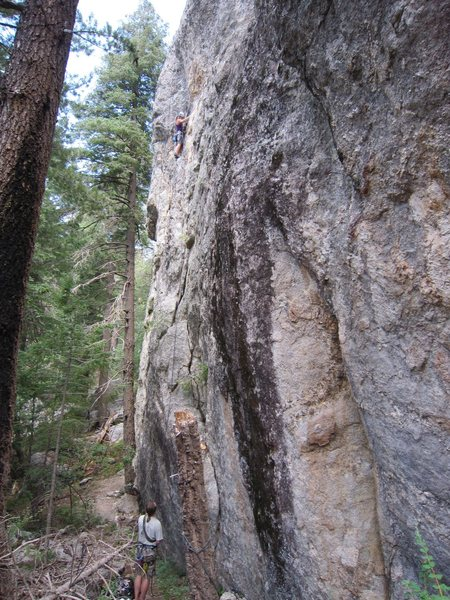 Rock Climbing Photo: Marcy just past the bolt she drilled from a hook.