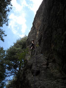 Rock Climbing Photo: Marcy working the route ground up